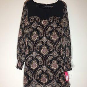Women's Paisley Black XL Dress Zipper Back